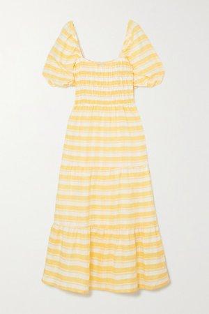 Gianna Shirred Checked Linen Midi Dress - Yellow