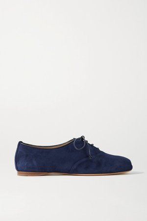 Maya Suede Lace-up Ballet Flats - Navy