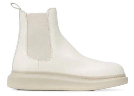 alexander mcqueen cream white chelsea boots