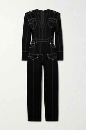 Black Denim jumpsuit | Balmain | NET-A-PORTER