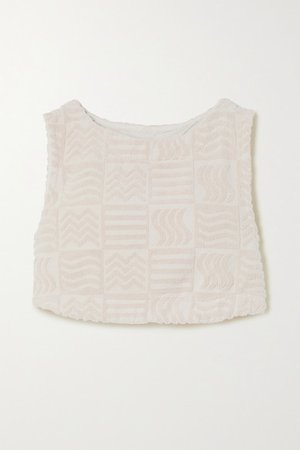 Cabana Cropped Cotton-terry Tank - Ecru
