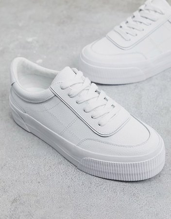 ASOS DESIGN Dynamic leather chunky sneakers in white   ASOS