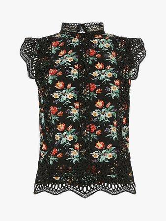 Oasis Willow Floral T-Shirt, Black/Multi at John Lewis & Partners