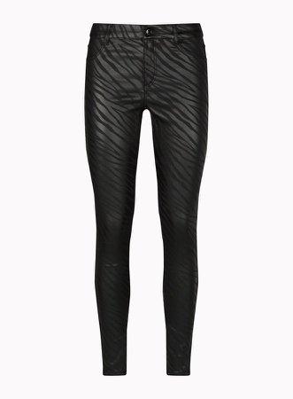Black Zebra Coated Frankie Denim Jeans