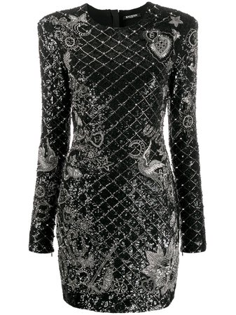 Black Balmain Sequin Embellished Short Dress | Farfetch.com