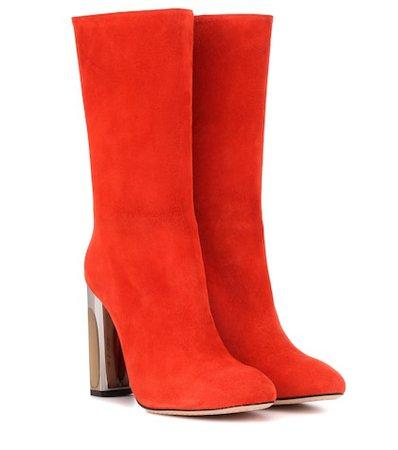 Mirror-heel suede boots