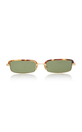 Linda Farrow Leona Stainless Steel Square-Frame Sunglasses
