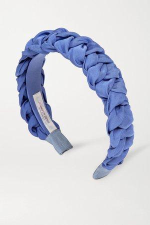 Blue Lori braided silk-faille headband | Jennifer Behr | NET-A-PORTER