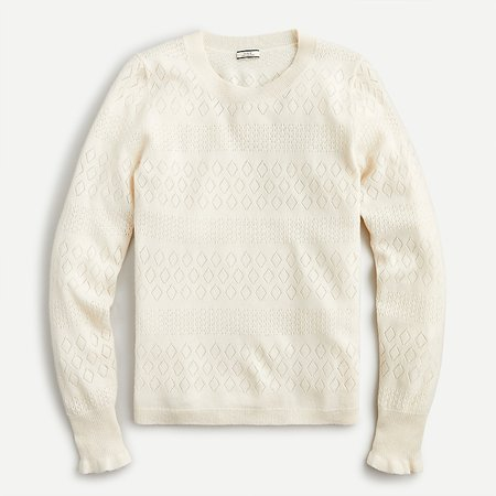 J.Crew: Cashmere Crewneck Sweater With Pointelle Stitch For Women
