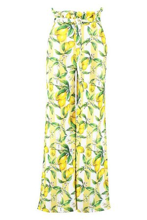 Petite Lemon Print Wide Leg Trousers Yellow Lime   Boohoo
