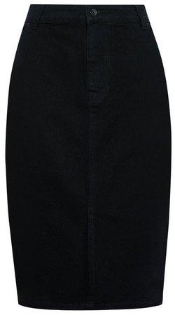 Black Organic Cotton Denim Midi Skirt