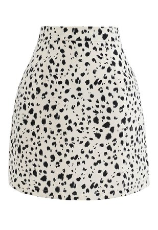 Irregular Dots Print Bud Skirt in Ivory - Retro, Indie and Unique Fashion