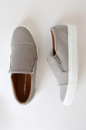 Report Aida Grey Sneakers - Canvas Slip-On Sneakers - Slip-Ons
