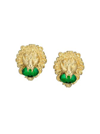 Gucci Lion Head Earrings With Cabochon Stones - Farfetch