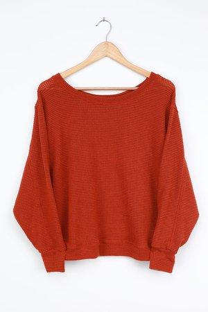 Cute Rust Sweater - Pullover Sweater - Loose Knit Sweater Top