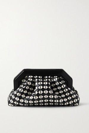 Secret Woven Leather Clutch - Black