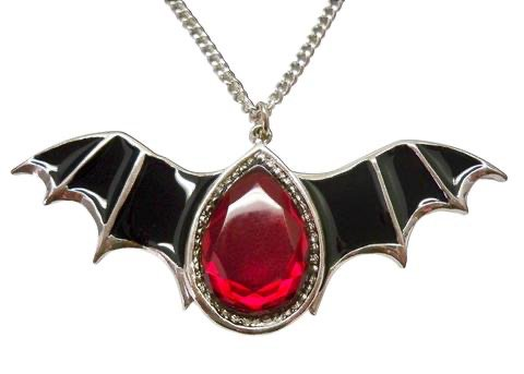 black bat wings blood red stone pendant necklace