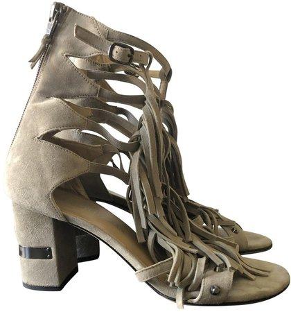 Beige Suede Sandals