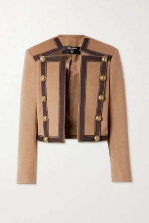 Camel Button-embellished cotton-trimmed wool and cashmere-blend blazer | Balmain | NET-A-PORTER