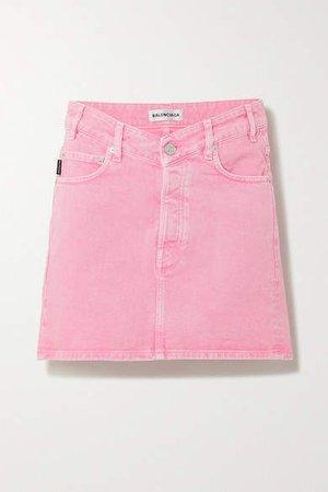 Acid-wash Denim Mini Skirt - Pink