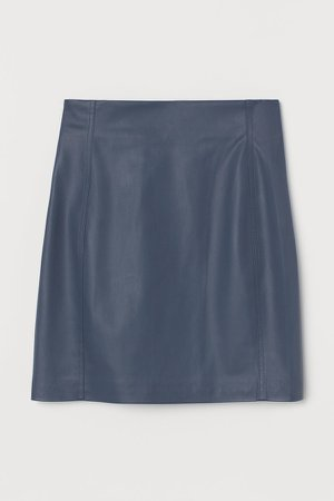 Faux Leather Skirt - Blue