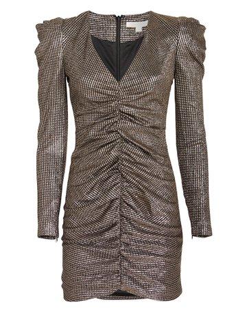 Lamé Puff Sleeve Mini Dress