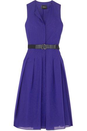 Akris | Belted pleated cotton-voile midi dress | NET-A-PORTER.COM