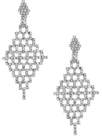 Crystal Geometric Mesh Drop Earrings