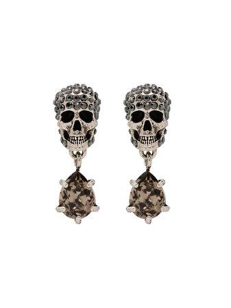 Alexander McQueen Crystal Skull Earrings - Farfetch
