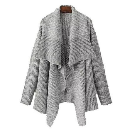 cardigan, wrap, brenda-shop, sweater, knitwear, knitted cardigan, grey, office outfits, casual, open front, no button, cute, cozy, cozy sweater, warm, winter outfits, fall outfits - Wheretoget