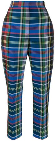 high-waisted plaid trousers