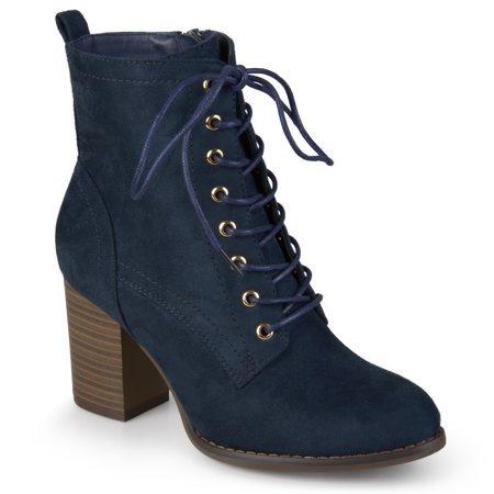 Brinley Co. - Brinley Co. Women's Lace-up Stacked Heel Faux Suede Booties - Walmart.com navy