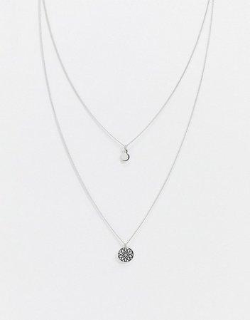 ASOS DESIGN chakra multirow necklace in silver tone   ASOS
