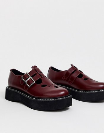 ASOS DESIGN Mass chunky mary jane flat shoes in burgundy | ASOS