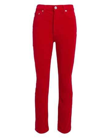 Red Velvet High-Rise Ankle Crop Pants