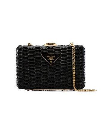 Prada black Middolino straw box bag $1,420 - Buy Online - Mobile Friendly, Fast Delivery, Price