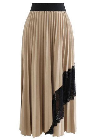 Lace Inserted Pleated Maxi Skirt in Tan - Retro, Indie and Unique Fashion
