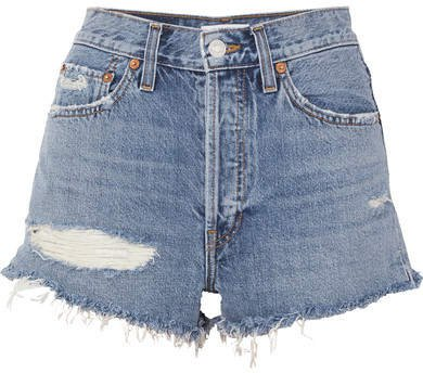 Re/done The Malibu Distressed Denim Shorts - Blue