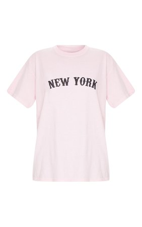 Baby Pink New York Printed T Shirt | Tops | PrettyLittleThing USA
