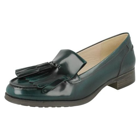 (UK 5.5, Dark Green (Green)) Ladies Clarks Smart Loafers Busby Folly - D Fit on OnBuy