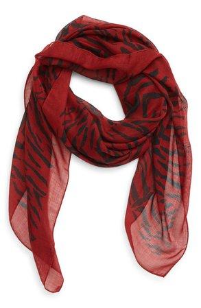 Saint Laurent Zebra Print Cashmere & Silk Scarf