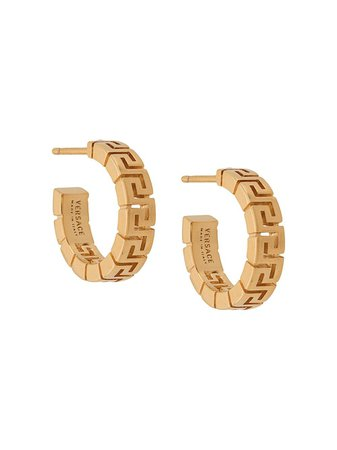 Shop gold Versace Greca hoop earrings with Express Delivery - Farfetch