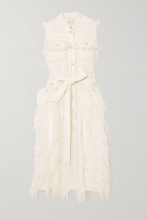 Ivory Wyatt feather-trimmed tweed and pleated crepe dress   Huishan Zhang   NET-A-PORTER