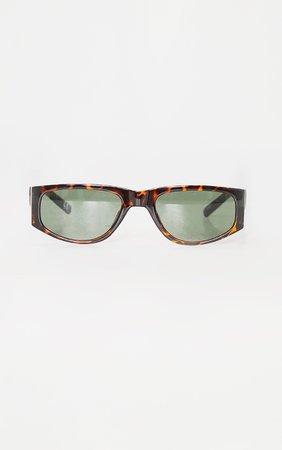 Brown Tortoise Slimline Squareframe Sunglasses | PrettyLittleThing USA