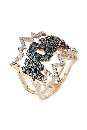 WOW! 18kt Rose Gold Ring with Diamonds Gr. 6