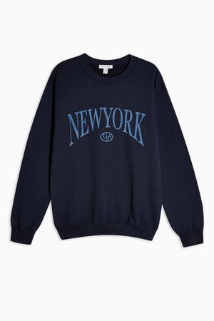 New York Flocked Sweatshirt | Topshop