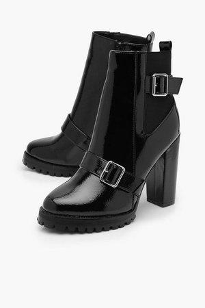 Buckle Detail Block Heel Chelsea Boots | Boohoo
