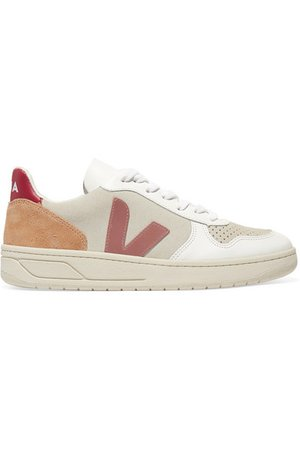 Veja   + NET SUSTAIN V-10 mesh, suede and leather sneakers   NET-A-PORTER.COM