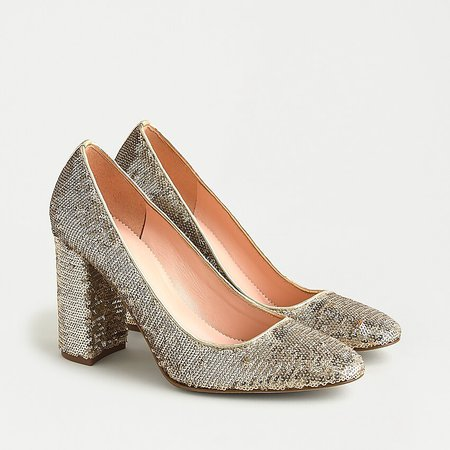 J.Crew: Bell Pumps In Gold Sequin