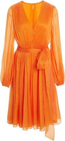 Carolina Herrera Fluid Crinkled V-Neck Dress